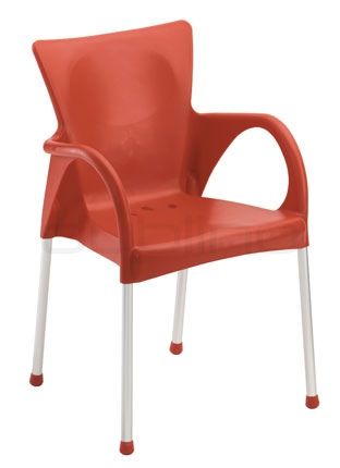 Aluminium framed chair with plastic seat (Technopolymer) in different colors - G BEVERLY