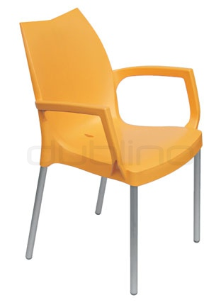 Aluminium framed chair with plastic seat (Technopolymer) in different colors - G TULIP B