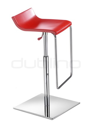 Chrome framed bar stool with plastic seat (Technopolymer) in different colors, telescopic - G MICRO X