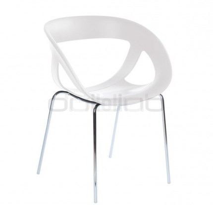 Chrome armchair, plastic seat (Technopolymer) in different colors - G MOEMA 69