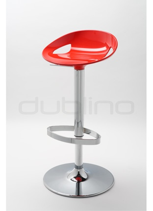 Chrome bar stool, plastic seat in different colors, telescopic - G MOEMA 74 P