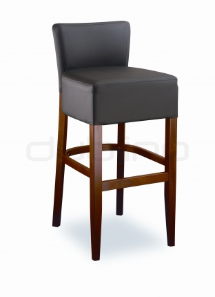 Beech wood frame bar stool with your choice of upholstery and stain colour, artificial leather. - LT7625