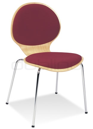 Metal chair with ply-wood, upholstered seat and back support - Y/CAFE VI PLUS