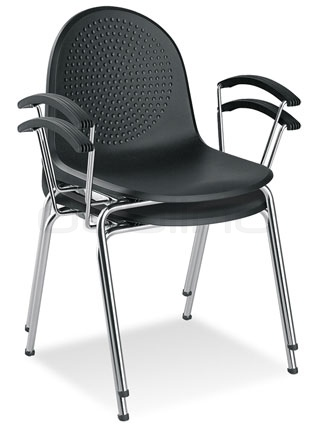 Metal chair with plastic seat - Y AMIGO ARM