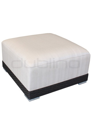 Aluminium framed pouffe, braided plastic, with pillow - R/Max/G
