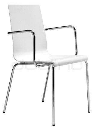 Metal chair with plastic seat, colors: white or beige - PEDRALI KUADRA 1115