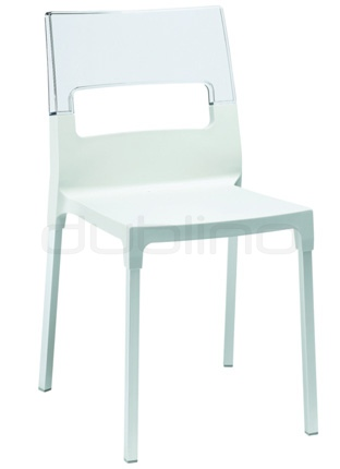 Plastic chair in different colors with aluminium legs. Min. order: 16 pcs - BC 2202 DI