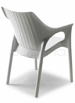 Plastic chair in different colors with aluminium legs. Min. order: 16 pcs - BC 2279/OLITR