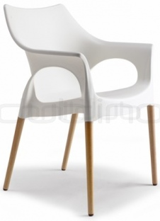 Plastic chair in different colors, with wood legs - BC 2115 NATOLA