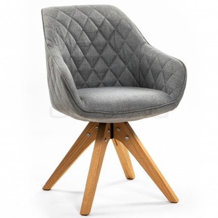 Upholstered light grey armchair, with oak wood legs - DL DIAMOND CORSICA LIGHT GREY